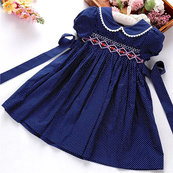 NAVY SPOTTED SMOCKED DRESS