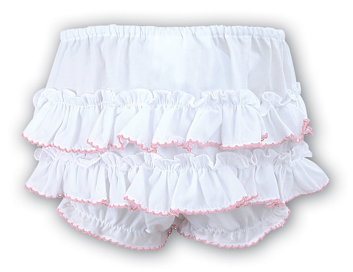 SARAH LOUISE WHITE FRILLY KNICKERS WITH PINK TRIM