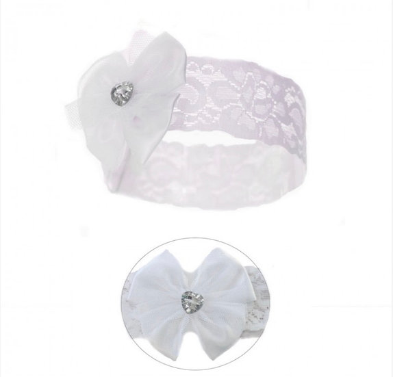 WHITE/PINK  SOFT TOUCH LACE HEADBAND with SATIN FLOWER&GEM