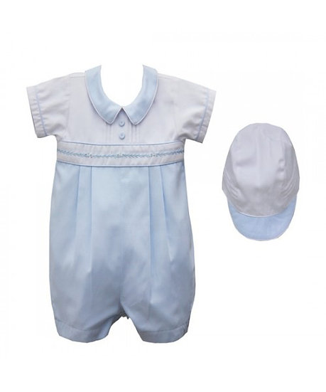 PRETTY ORIGINALS  Boys Blue Romper with Matching Hat DL61973E