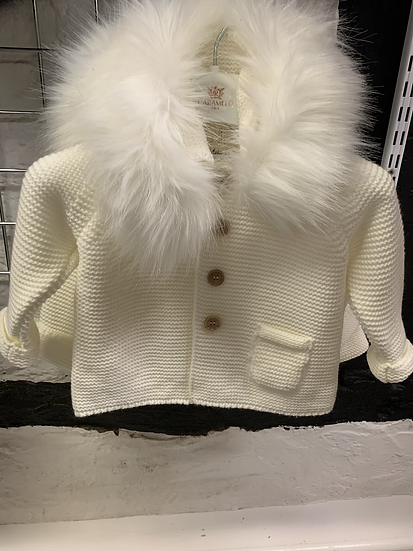 Meia Pata Ivory knitted hooded cardigan with faux fur collar and  bow detail