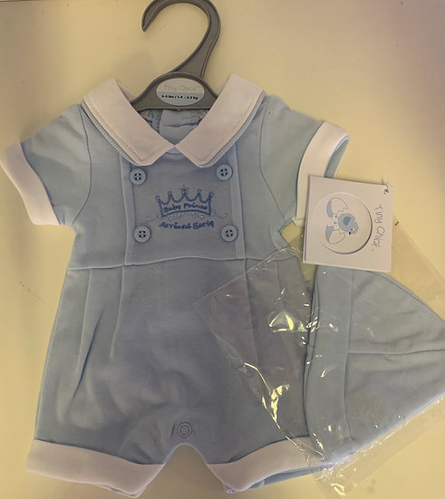 BOYS BABY PRINCE ARRIVED EARLY COLLARED ROMPER WITH MATCHING HAT