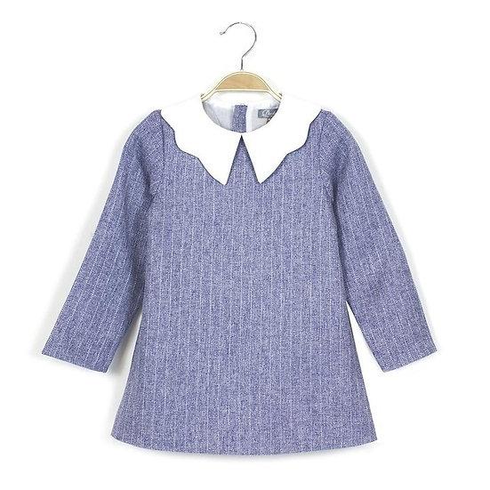 DADATI BLUE DRESS WITH SMART WHITE COLLAR