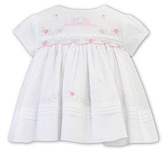 SARAH LOUISE WHITE DRESS WITH BABY PINK SMOCKING