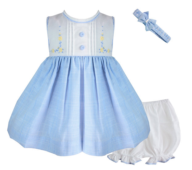 PALE BLUE AND WHITE BABY DRESS