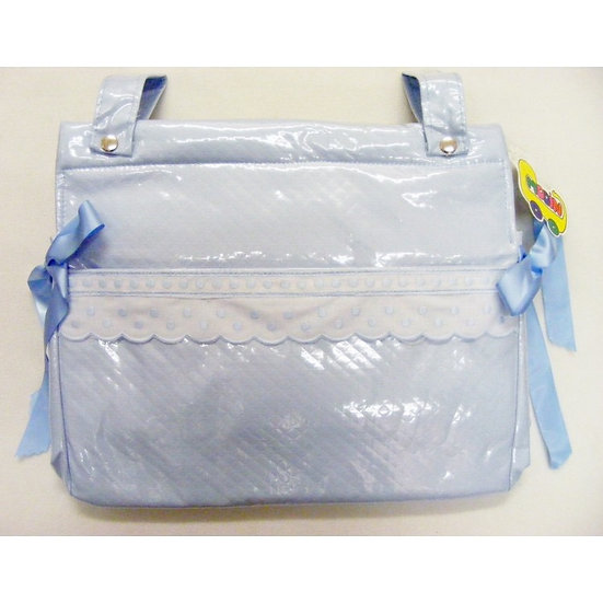 'MODIN' SPANISH PLASTICOATED CHANGING BAG-- BLUE with DOT COTTON TRIM