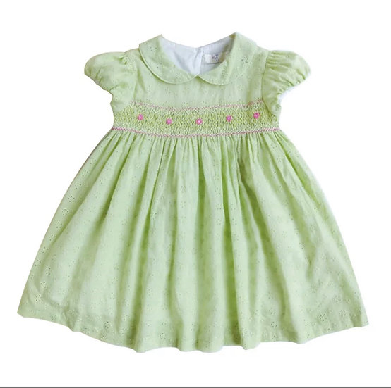 SMOCKED LIME GREEN & PINK DRESS