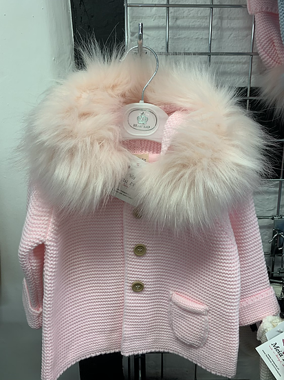 Meia Pata Pink knitted hooded cardigan with faux fur collar and  bow detail