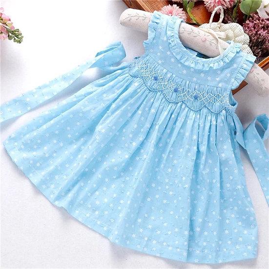 BABY GIRL SMOCKED DRESS Aqua Blue ✨