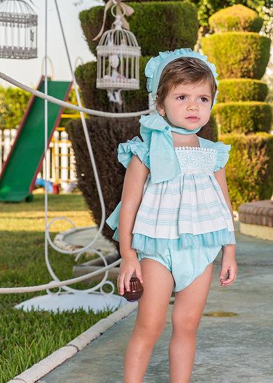 BABINE TURQUOISE STRIPE BABY DRESS & KNICKERS