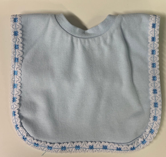 PLAIN BLUE BIB WITH BLUE EDGING