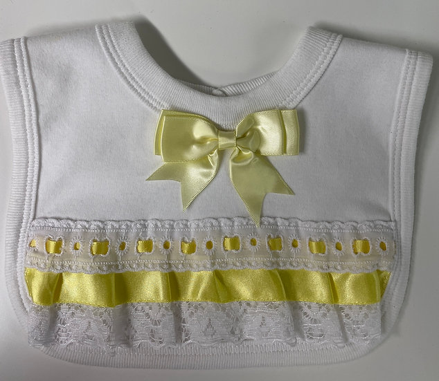 PLAIN WHITE BIB WITH YELLOW BOW AND FRILL