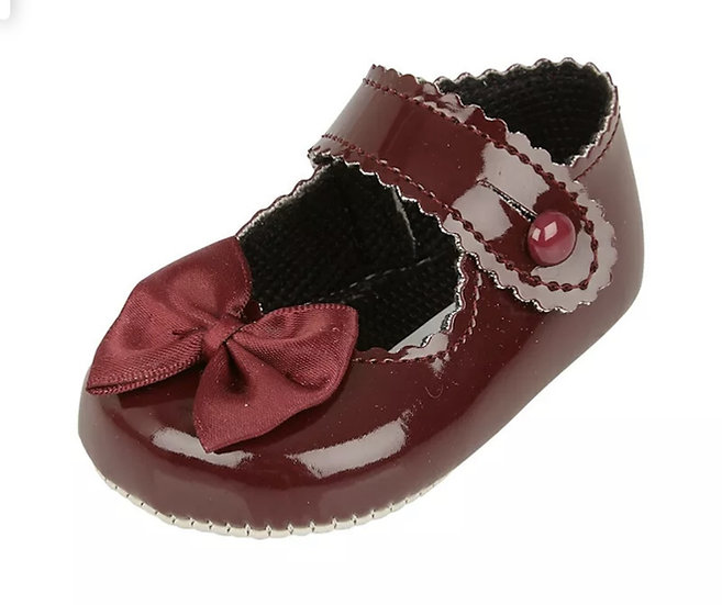 BAYPODS BURGUNDY PICOT BOW TRIM SHOES ✨