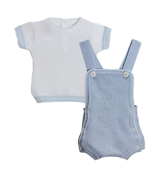PALE BLUE & WHITE KNITTED DUNGAREE SET
