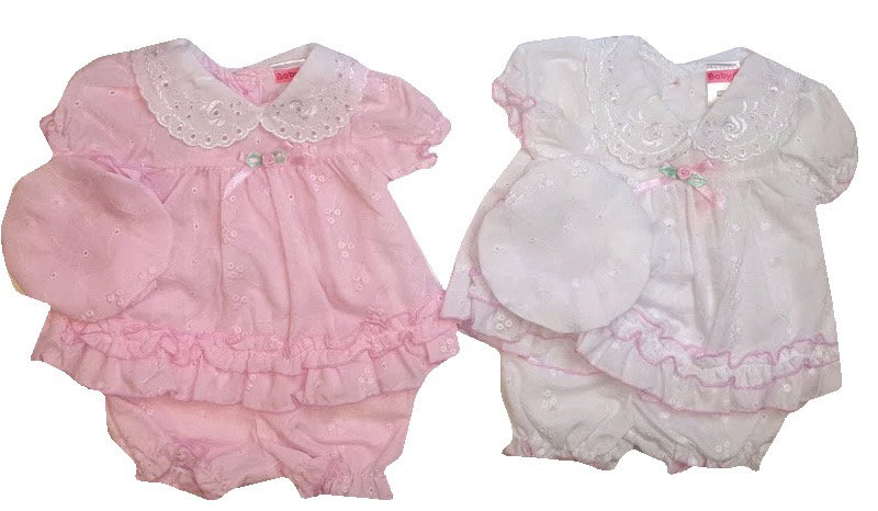 PINK PREMATURE BRODERIE ANGLAISE DRESS SET PINK
