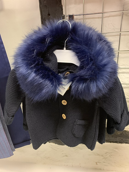 Meia Pata Navy knitted hooded cardigan with faux fur collar and  bow detail