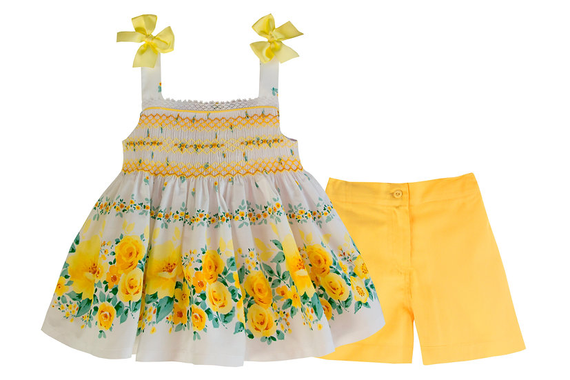 YELLOW  FLORAL TOP WITH YELLOW SHORTS
