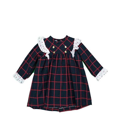 BABYFERR NAVY FOUR BUTTON DRESS