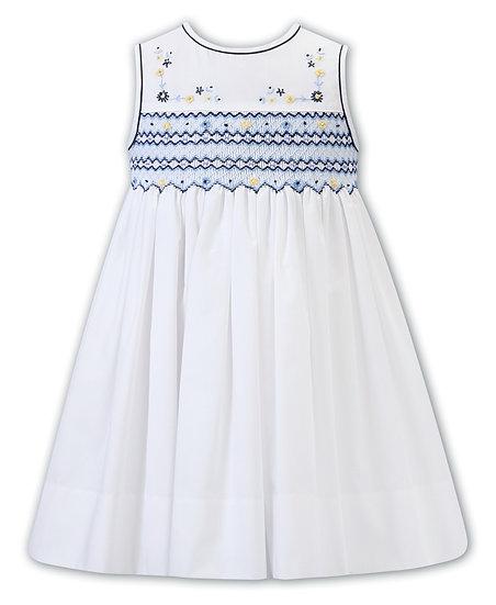 SARAH LOUISE WHITE DRESS WITH NAVY & YELLOW SMOCKING
