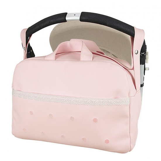 MODIN ROUND LACE FRONT EMBROIDERED SPOT CHANGING BAG - PINK