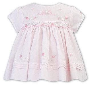 SARAH LOUISE PALE PINK DRESS WITH BABY PINK SMOCKING
