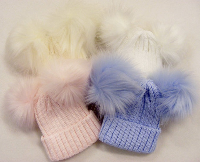 CREAM KINDER RIBBED HAT WITH 2 FAUX FUR POMS