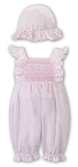 SARAH LOUISE BABY PINK SMOCKED BUBBLE ROMPER WITH MATCHING HAT
