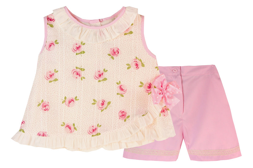 PINK & CREAM FLORAL TOP AND SHORT SET