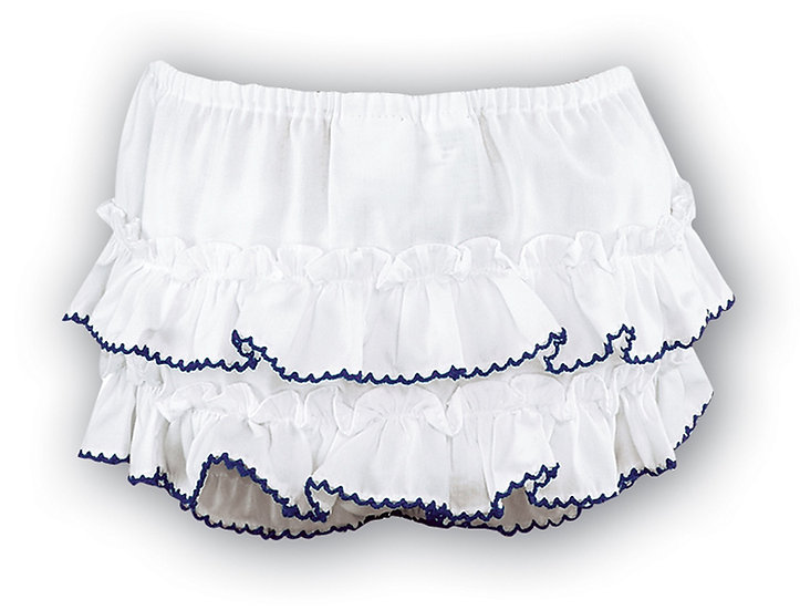 SARAH LOUISE WHITE FRILLY KNICKERS WITH NAVY TRIM