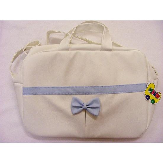 MODIN ZAFIRA PLEAT & BOW CHANGING BAG - WHITE/BLUE
