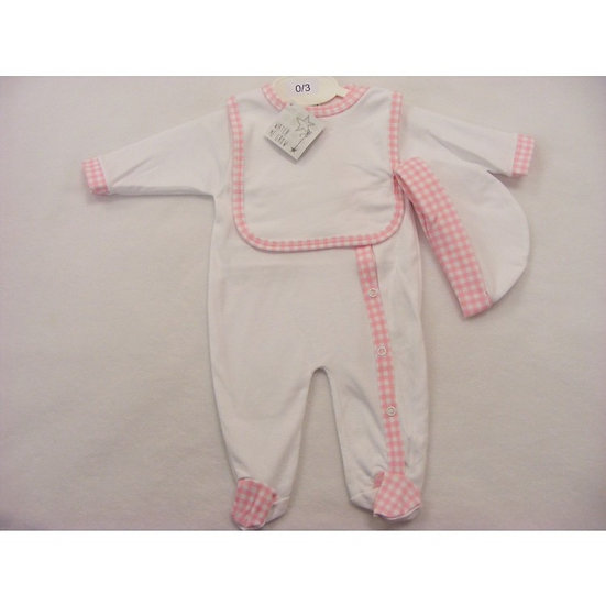 PINK GINGHAM TRIM SIDE POPPER SLEEPSUIT, BIB & HAT