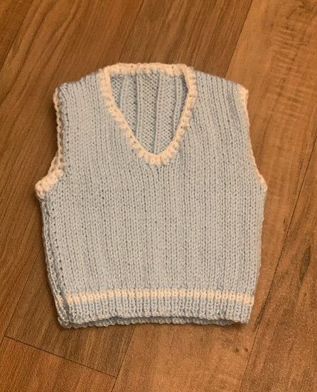 KNITTED BABY BLUE & WHITE  HAND V NECK TANK TOP