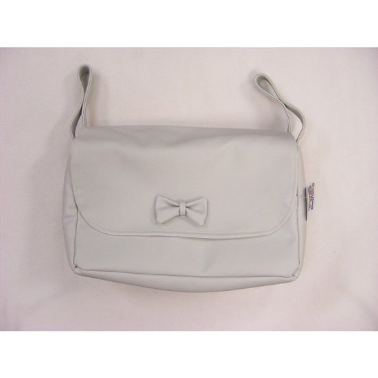 MODIN SMOOTH FRONT BOW DETAIL ROUND CHANGING BAG - GREY