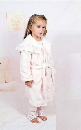 BEAU KIDS GIRLS VELOUR FEEL DRESSING GOWN/ROBE WITH LACE INSIDE HOOD PINK