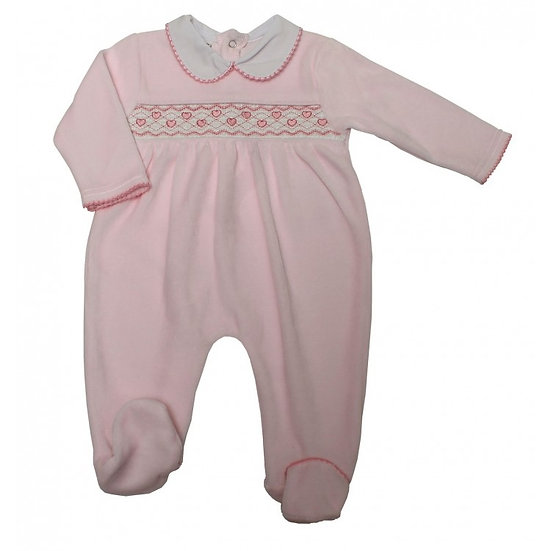 PINK 'HEARTS' SMOCKED VELOUR SLEEPSUIT