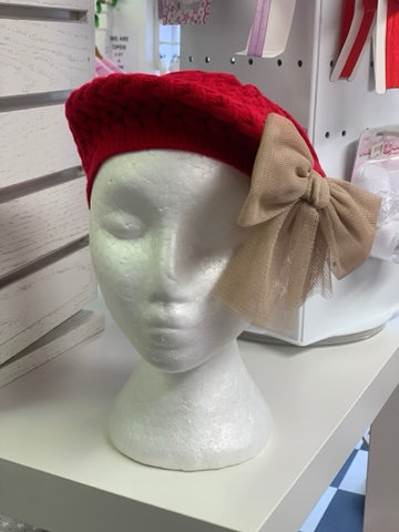 RAHIGO BERET WITH TULLE BOW (RED & CAMEL) NOT PINK LIKE PHOTO