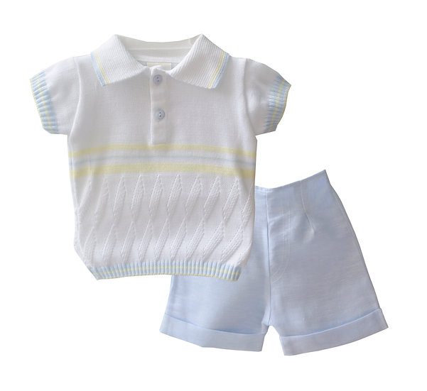 PALE BLUE, WHITE & LEMON KNITTED TOP AND COTTON SHORT SET