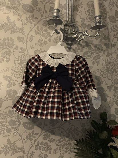 QUINPER NAVY & DARK RED CHECKED PUFF BALL DRESS