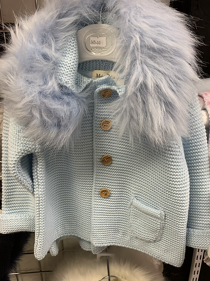 Meia Pata Baby Blue knitted hooded cardigan with faux fur collar and bow detail