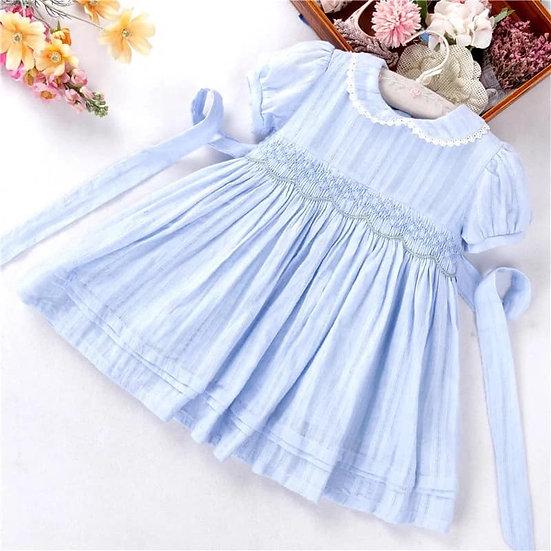 SMOCKED DRESS BABY BLUE