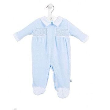 DANDELION BABY BLUE SMOCKED VELOUR BABY GROW
