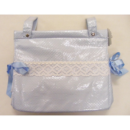 'MODIN' SPANISH PLASTICOATED CHANGING BAG-- BLUE with COTTON LACE TRIM
