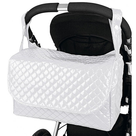 WHITE ROUND TOP PATENT QUILTED CHANGING BAG