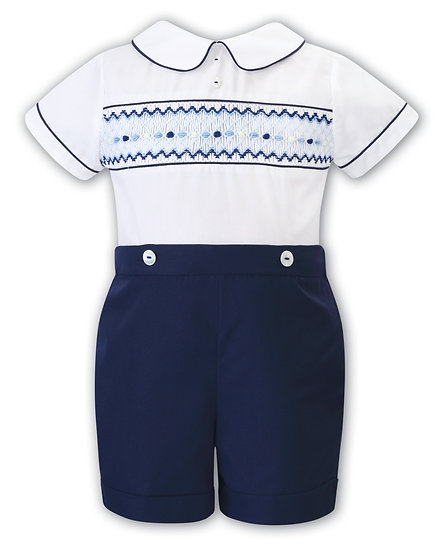 SARAH LOUISE BOYS 2 PIECE WITH NAVY & YELLOW SMOCKING