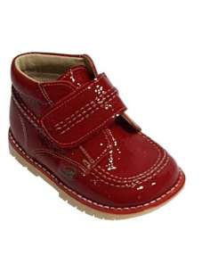 RED KICKERS BOOTS IN PATENT.