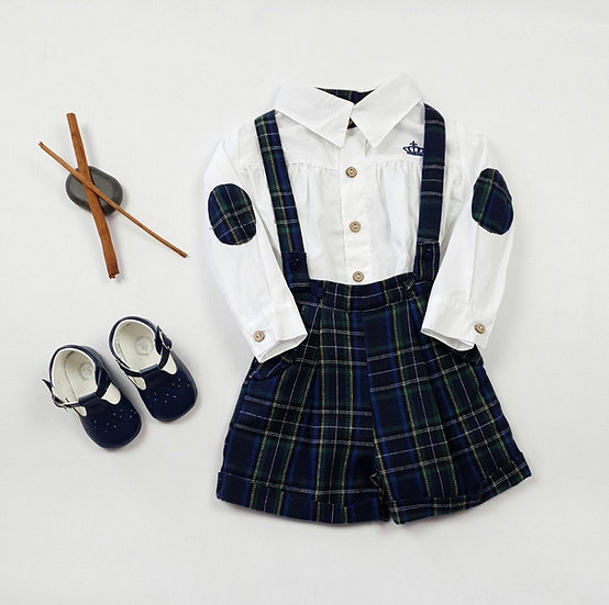 BEAU KIDS BABY BOY NAVY CHECKED OUTFIT