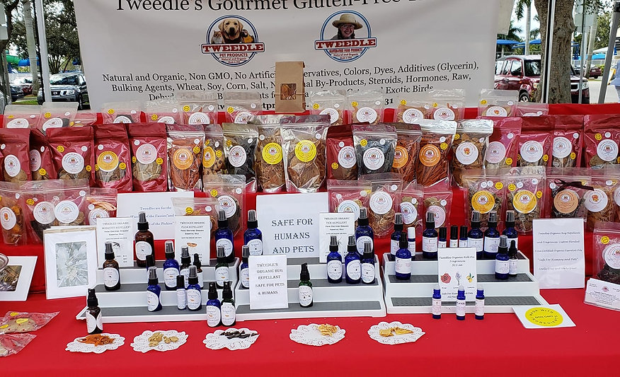 tweedle pet products at local green markets pbc Florida