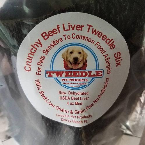 100% USDA All Beef Liver Crunchy Tweedle Stix   Medium - 4oz