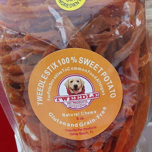 100% USDA Crunchy Sweet Potato Tweedle Stix Natural Chews    Large - 8 oz