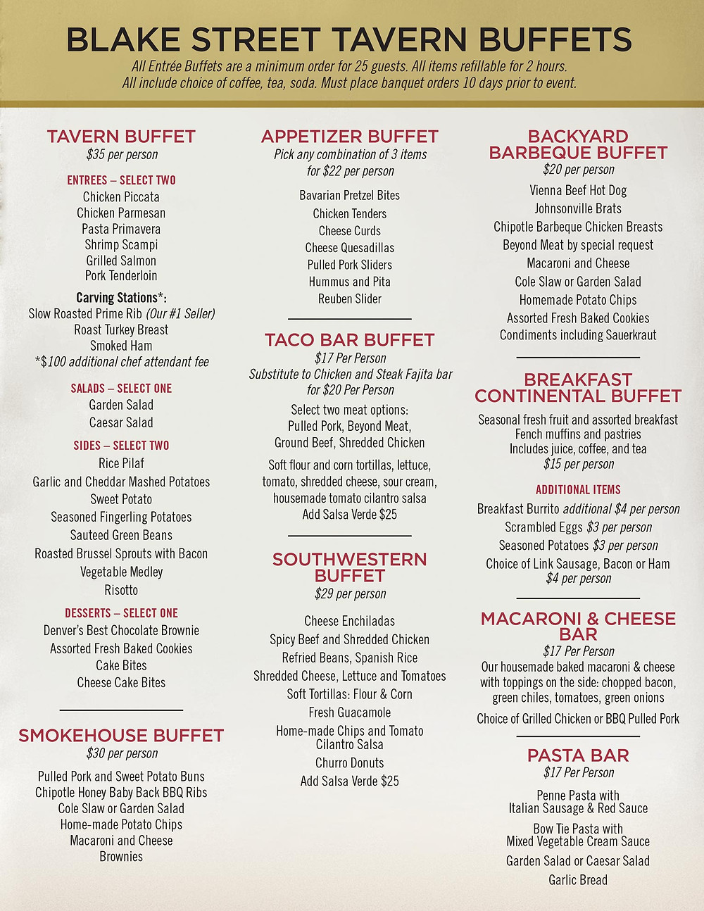 Denver Holiday Party Venues - Buffet Menu